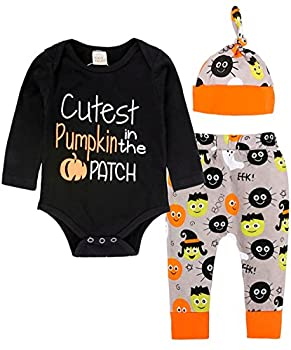 Weant Halloween Costume 3pc Baby Toddlers Tops+ Pants + Hat Newborn Outfits Clothes Set (0-3 Months, Black) 0