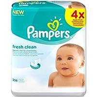 Pampers - Fresh Clean - Lingettes Bébé - Lot de 4 Paquets de 64 (x256 Lingettes)
