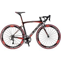 Carbon Carreras, Sava Carbon Rueda de bicicleta bicicleta fibra de carbono bicicleta 700C Shimano 470020de circuito de cadena con cambio de marcha, versión actualizada, color rojo, tamaño 52