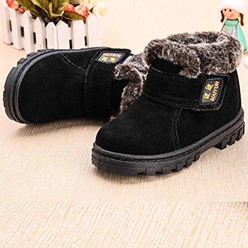 Kinderschuhe Longra Winter Baby Mädchen Jungen Mode Schneestiefel Winter Baby Kinder Stil Baumwolle warme Stiefel (1-6 Jahre) Black