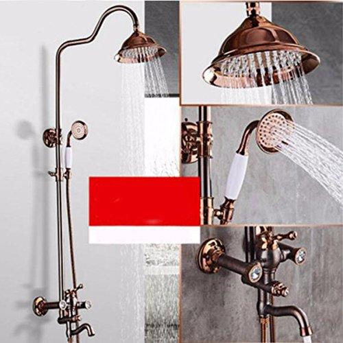 ETERNAL QUALITY Badezimmer Waschbecken Wasserhahn Messing Hahn Waschraum Mischer Mischbatterie Tippen Sie gebürstet Wasserhahn Dusche wasser heizung Metall Dusche kit Dusche Set G Küchenspüle Armaturen (Wasser-heizung-kit)