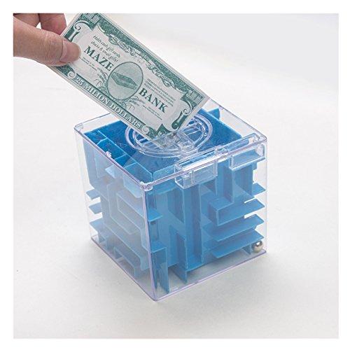 Creative Puzzle Maze Piggy Bank Transparente Münzen Cash Money Box für Kinder Neujahr Geschenk, blau (Etwas Unter 1 Dollar)