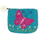 Dzi Felted Coin Purse - Magical Butterfly Coin Purse Credit Card Holder by dzi