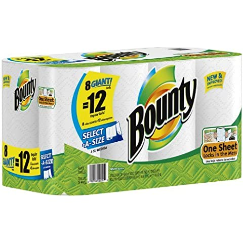 1 X Bounty Paper Towels, 8 Select A Size Giant Rolls (equivalent to 12 Select A Size Regular Rolls) by Procter And Gamble
