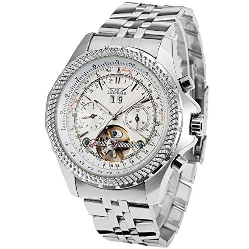 Jaragar Wacth, orologio da polso da uomo con quadrante grande, con tre quadranti, calendario, tourbillon in acciaio inox, orologi meccanici automatici per uomo Hodinky
