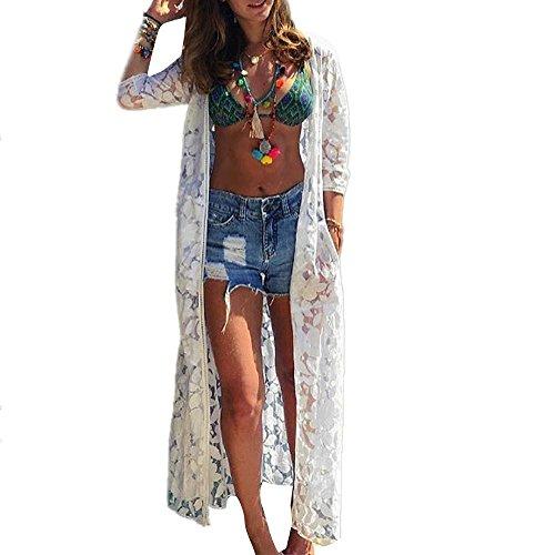 Crochet Detail Tunika (Zarupeng Damen Mode Lange Spitze Bikini Bluse Bademode Strand auszuhöhlen Badeanzug Tunika (S, Weiß))