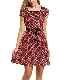 415306e9923838 Zeagoo Elegant Damen Sommerkleid Vintage Blumen Kleid Partykleid Jerseykleid  A-Linie mit Gürtel
