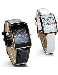 JewelryWe 2pcs de de la pareja rhinestone acentuado Gold-tone Piel de color negro correa relojes cuadrados (un par)