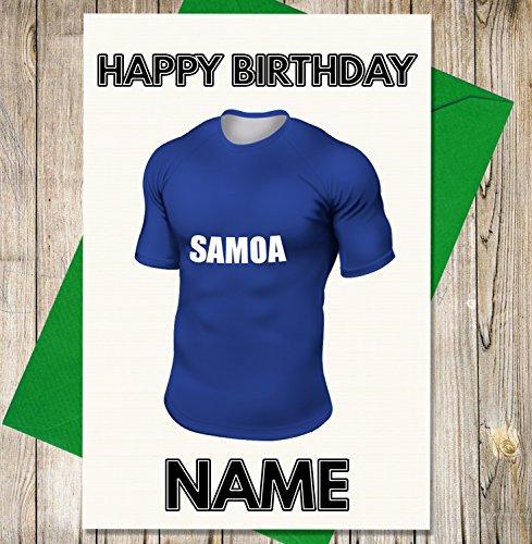 Western Samoa Rugby-Shirt Personalisierte Geburtstagskarte–Jeder Name und Alter Druck auf der Vorderseite (Shirt Alte Western)