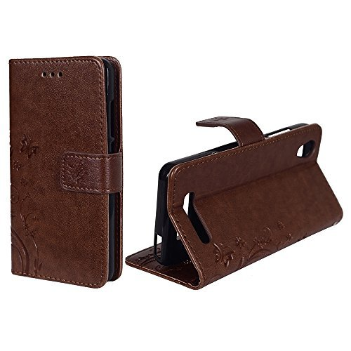 König-Shop Handy-Hülle für ZTE Blade A452 Tasche Case Cover Wallet Kunstleder Coffee