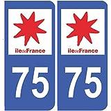 Autocollant plaque immatriculation auto département 75 Paris