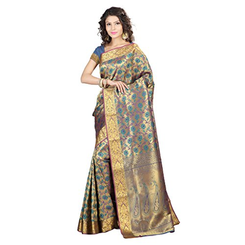 Varkala Silk Sarees Women's Art Silk Banarasi Saree With Blouse Piece(NS5101RMV_Teal Blue_Free Size)