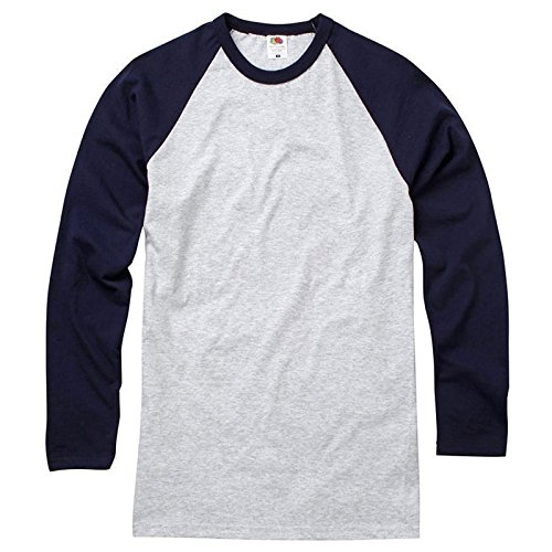 Fruit of the Loom Herren Modern T-Shirt Gr. Large, Heather Grey/ Deep Navy (Navy Heather Blue Raglan-t-shirt)