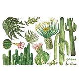 Clevoers Carta da Parati Adesiva Muro Adesivo da Parete Carta da Parati Autoadesiva Foglie Cameretta Cactus Decorazione di Mobili Camera da Letto Armadio Davanzale