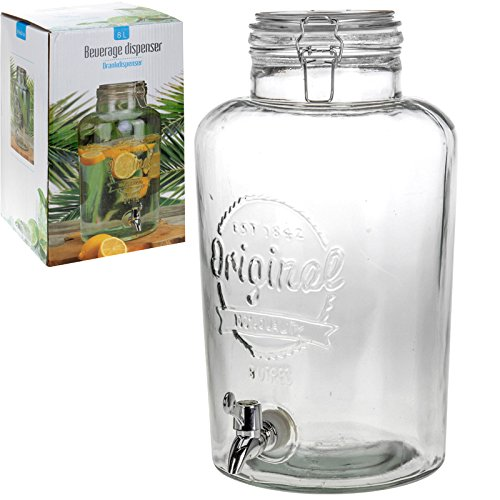8 Liter großer Krug Drink Getränke-Spender mit Hahn & Deckel Geschenk-Box