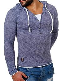 Carisma Herren 2in1 double Look Longsleeve langarm T-Shirt mit Kapuze slimfit Kontrast Optik meliert