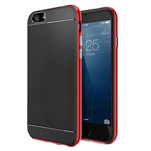 Finoo 2 1 TPU custodia Alluminio - Nero, iPhone 6/6S Plus rosso