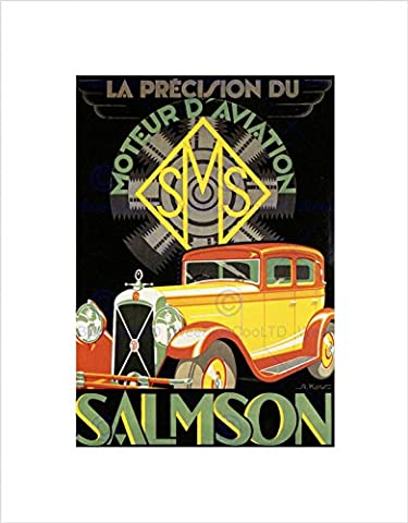 AD SALMSON AUTOMOBILE CAR MOTOR VINTAGE CLASSIC FRANCE FRAMED PRINT B12X3214