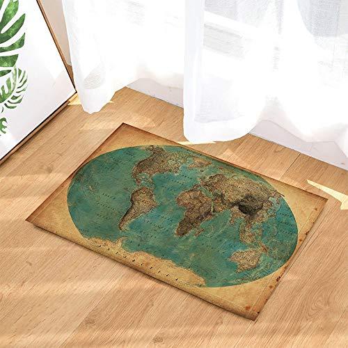 (Karte Bad Teppich von cdhbh Vintage Tellurium Weltkarte Rutschfeste Fußmatte Boden Eingänge Innen vorne Fußmatte Badezimmer Teppiche Badematte Memory Foam Kinder 39,9x 59,4cm)