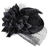 weimay Frauen Dame Feder Mini Hut-Anzug Haar mit dem Detail Bowknot für die Partei Luxus Cocktail-–eine Größe, Schwarz