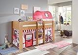 Relita Halbhochbett ANDI, Buche Dekor, LF 90x200 cm inkl. Vorhang und 1-er Tunnel Disney Hello Kitty