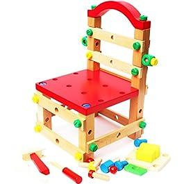 Toys of Wood Oxford Dadi di Legno e bulloni Edilizia Kit e Workbench