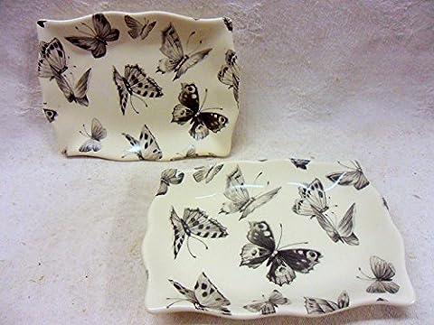 Set von zwei schwarz Schmetterling Design Soap Tabletts. (Schmetterling Dish)
