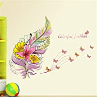 Colorful Feather Butterfly Wall Sticker Decal Art Home Decor Bedroom Living Room Decor Poster Mural Wedding Decoration