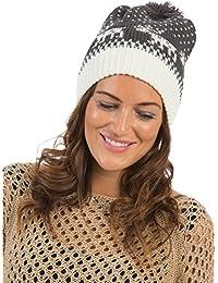 Femme 100%  acrylique Motif Jacquard Bonnet à pompon Taille unique-DIVERSES COULEURS AU CHOIX