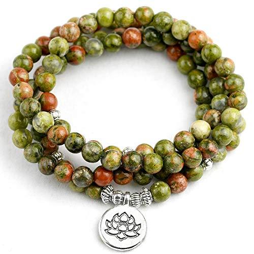 BRACLTS handketten Natürliche Serpentin Stein Perlen Mit Antikem Silber Überzogene Buddha Lotus Charm Armband Männer Frauen Yoga Schmuck