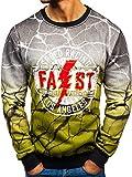 BOLF Herren Sweatshirt Pullover Pulli Print Rundhals Modern Street Style J.Style TX15 Grün M [1A1]