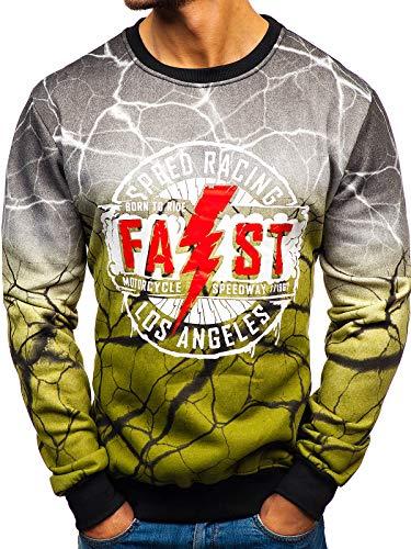 BOLF Herren Sweatshirt Pullover Pulli Print Rundhals Modern Street Style J.Style TX15 Grün XXL [1A1]