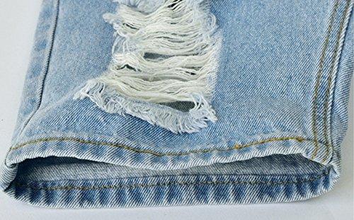 Blansdi Damen Sommer Beiläufige Strech High Waist Zerrissenes Lochjeans Hosen mit Kordelzug Crimpen Shorts Hotpants Gewaschene Distressed Schlank Denim Kurz Jeanshosen Blau