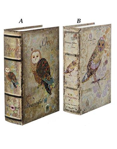 Caja Fuerte Con Forma de Libro - Modelo búhos (18x6.8x27 cm) - B