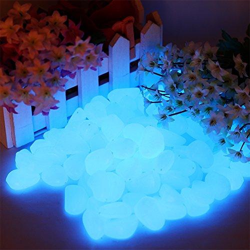 Leuchtsteine Leuchtende künstliche Kieselstein leuchtende Kiesel Aquarium Floureszierende Pebble für Garten Durchgang, Yard & Fish Tank Dekorative Steine 100 Stueck ( blau )