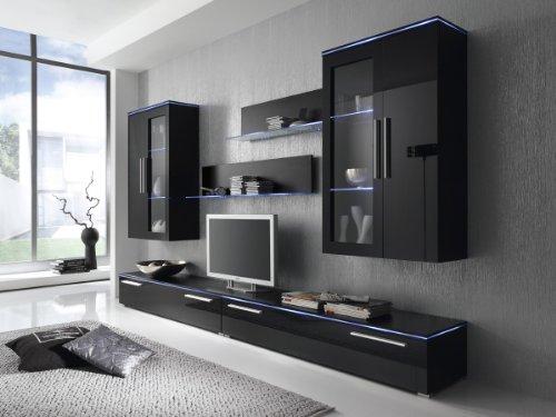 Wohnwand Anbauwand schwarz, Fronten schwarz hochglanz, optional LED-Beleuchtung, Beleuchtung:Beleuchtung Weiß