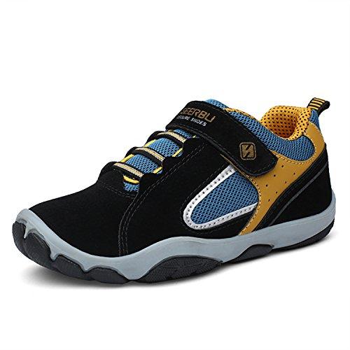 SAGUARO Jungen Trekking Wanderschuhe Kinderschuhe mit Klettverschluss Leicht Sport Schuhe Outdoor Laufschuhe Mädchen Turnschuhe Sneaker Schwarz, 33 EU