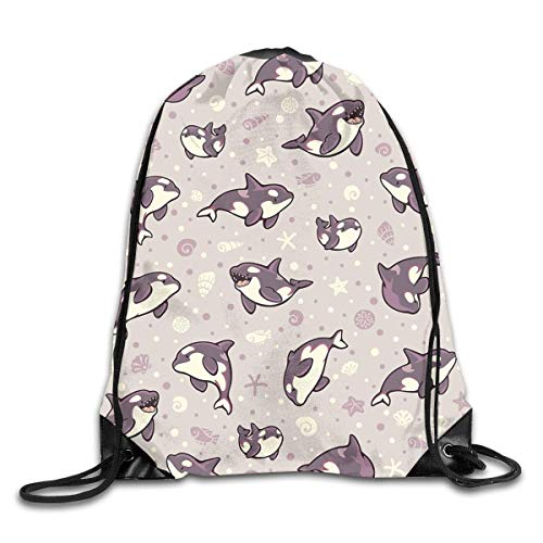 HLKPE Cute Pattern Jelly Bean Orcas Gym Sport Bag Drawstring Bag Backpack Draw Cord Bag Men Women Gym Sport Yoga Dance Travel -