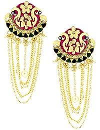 The Jewelbox Long Statement Peacock Rani Pink Green Pearl Dangling Earring For Women