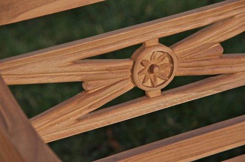 CLP Teak-Holz Gartenbank MARYLAND V2, massiv, wetterfest, bis zu 3 Größen wählbar, wird teilmontiert angeliefert 120×54 cm - 4