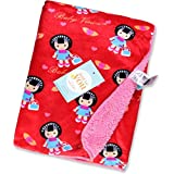 Baby Bucket Double Layer Velvet Fleece Newborn Printed Baby Blanket (RED+PINK)