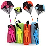 Sipobuy 4 pcs Hand Throwing Parachute Men Toy Set Seprovider Tangle Free Flying Flight Creative Toys Multi-colour for Boys Girls Kids Adults