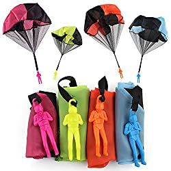 A perfect gift for both boys and girls, also a good stress relief toy for adults! Main Material: Cloth Diameter: 45cm Soldier size: Approx. 9.5*3.3cm Package Includes:  4 PCS Parachute Toys (one green,one orange ,one blue,one hot pink)