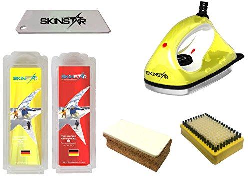 SkinStar Starter Ski Wachs Set, Wachsbügeleisen Bürste Hydrocarbonwachs 6-teilig -