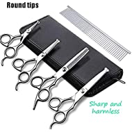 DONYKARRY Pet Grooming Scissors Kit, 5 PCS Rounded Tips Curved Pet Grooming Shears For Cats Dogs Stainless Steel Scissor With Combs Trimmer Kits For Body Face Ear Nose Paw