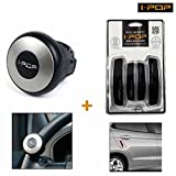 #9: I-Pop Mini Size Car Steering Wheel Knob-Silver+Car Door Scratch Guard-Black (BuySasta Deals)