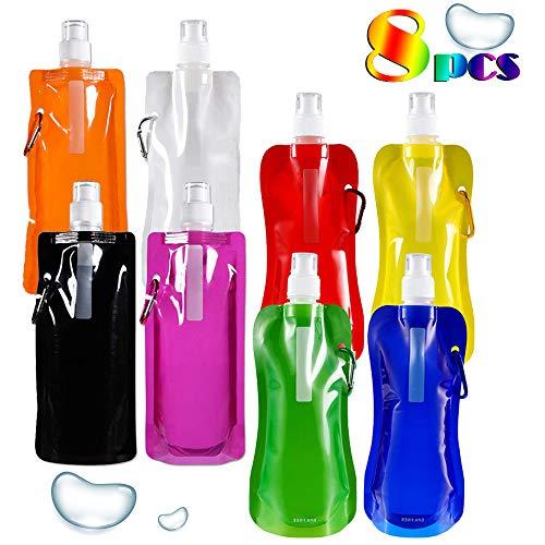 JuguHoovi Faltbare Wasserflasche Set von 8, Mehrfarben Wiederverwendbar Trinkrucksäcke mit Karabiner, 500ML Große Kapazität, Auslaufsicher, Ungiftig, für Wandern, Abenteuer, Reisen