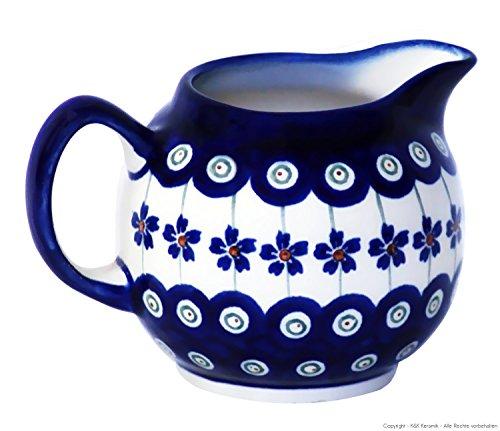Bolesławiec Pottery Decor 166a - Salsera de cerámica (250 ml), diseño de lunares, color azul y blanco