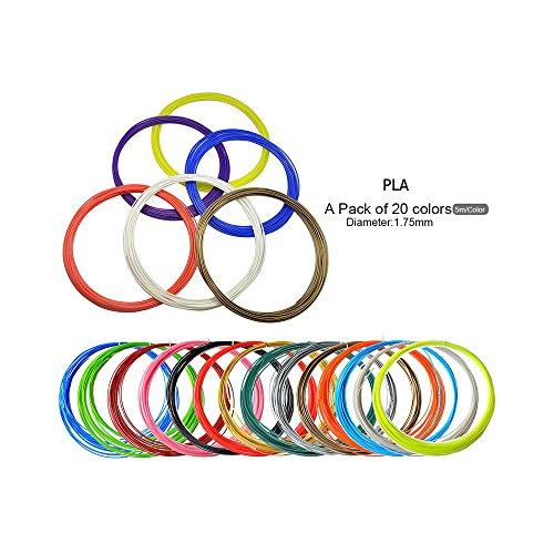 3D Printer Filament für 3D Pen Refills Typ PLA Durchmesser: 1.75 mm - Packung mit 20 Farben [16 Farben + 4 Farben Dark Lighting] -100M [328ft]