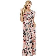 8c9aaee8379a2 Lover-Beauty Vestido Largo Floral Print Casual para Noche Fiesta Playa  Fiesta Manga Larga Cuello